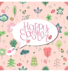 Greeting card with phrase happy easter and spring vector