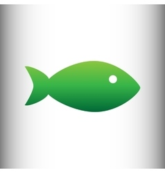 Fish sign green gradient icon vector