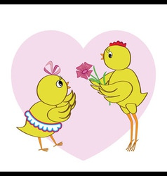 Chickens in love vector