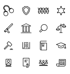 Line justice icon set vector
