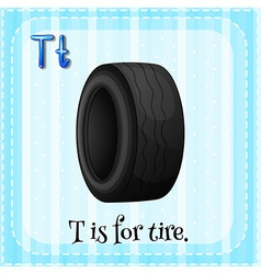 A letter t for tire vector