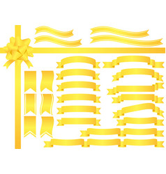 A set of assorted yellow ribbons vector