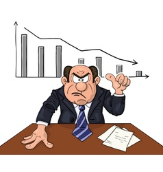 Angry boss with descending diagram behind vector image vector image