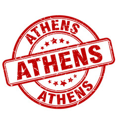 Athens red grunge round vintage rubber stamp vector