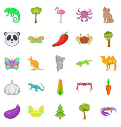 Australian animals icons set cartoon style vector