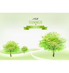 Beautiful green summer nature background vector