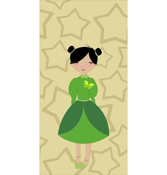 beautiful little girl on the stars background vector image vector image