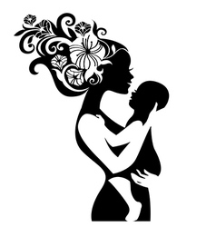 Beautiful mother silhouette with her baby vector image vector image