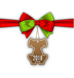 Bow ribbon with tag dog label with 2018 vector