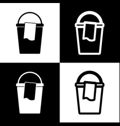 Bucket and a rag sign black and white vector