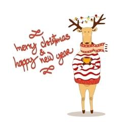 Christmas deer happy new year reindeer vector