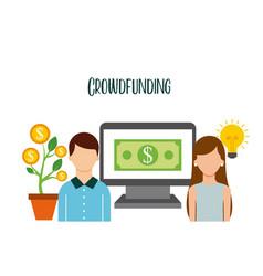 Crowdfunding couple pc money help sponsor vector