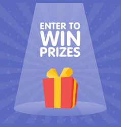 enter to win gift prize red box spotlight vector image vector image