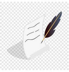 Feather and scroll isometric icon vector