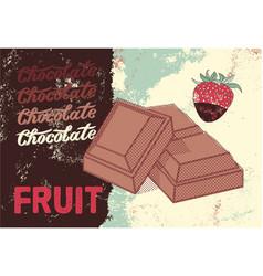 Fruit chocolate vintage poster design vector