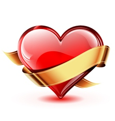 Glossy heart with golden ribbon vector image vector image