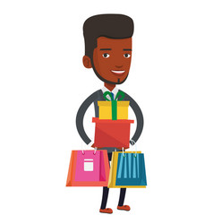 happy man holding shopping bags and gift boxes vector image