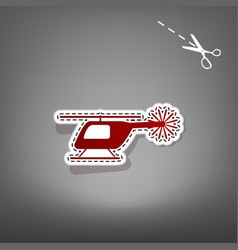 Helicopter sign red icon vector