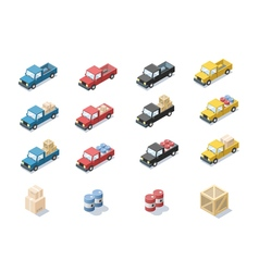 isometric set of wagon car with cargo vector image vector image