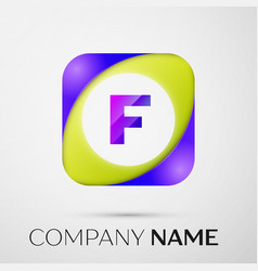 letter f logo symbol in the colorful square on vector image