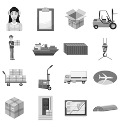 Logistic icons set gray monochrome style vector