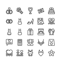 Love and valentine line icons 14 vector