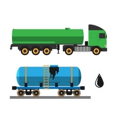 Oil extraction truck shipping and transportation vector