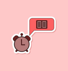 paper sticker on stylish background book alarm vector image