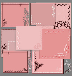 Pink square cards vector