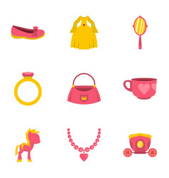 Princess accessories icon set flat style vector
