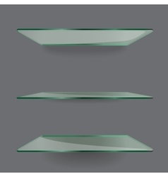 Realistic transparent glass shelves on light grey vector
