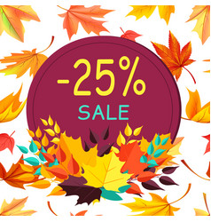 Sale autumn 25 special offer promo poster leaves vector