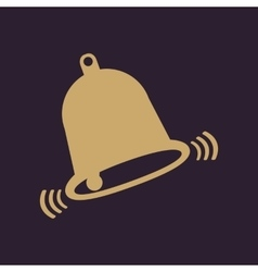 The bell icon alert symbol flat vector
