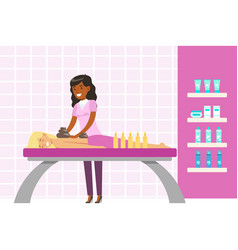 Woman having a relaxing massage with massage oil vector