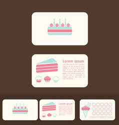 Cakes business cards and promotional cards vector