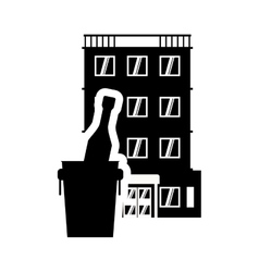 Bottle hotel building silhouette design vector