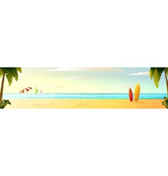 Sunny summer beach panorama vector