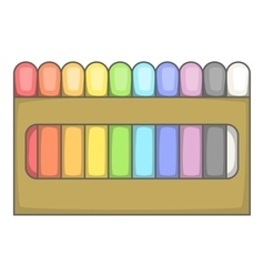 Colored pastel crayon set icon cartoon style vector
