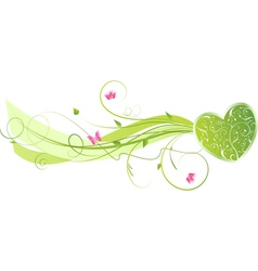 Green floral heart vector