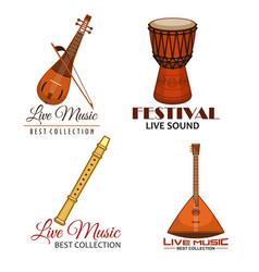 Live music folk festival icons vector