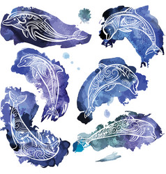 set of decorated dolphins vector image
