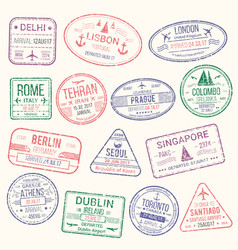 passport stamp travel visa sign icon set vector image