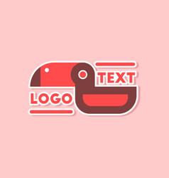 Paper sticker on stylish background bird logo vector