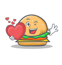 Burger character fast food with heart vector