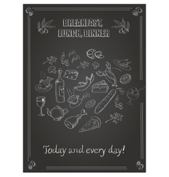 Vintage breakfast lunch and dinner poster with vector