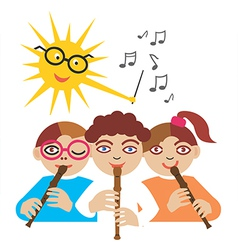 Children playing the flute vector