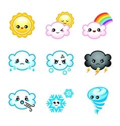 Kawaii weather icons vector image