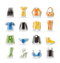 Simple clothing and dress icons vector