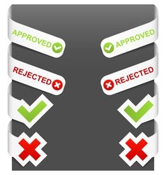 left and right side signs - approved rejected vector image