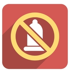 Forbidden condom flat rounded square icon with vector